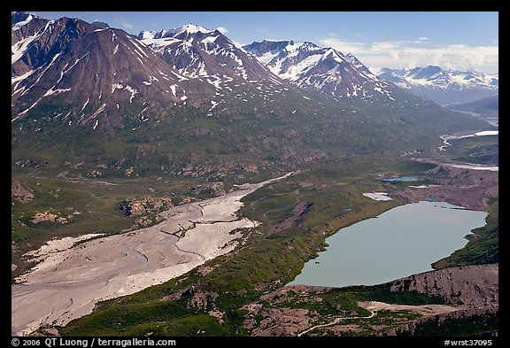 Aerial view of Ross Geen Lake and Granite Range. Wrangell-St Elias National Park (color)
