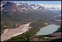 Aerial view of Ross Geen Lake and Granite Range. Wrangell-St Elias National Park, Alaska, USA.