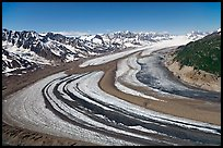 Aerial view of curving glacier near Bagley Field. Wrangell-St Elias National Park, Alaska, USA. (color)