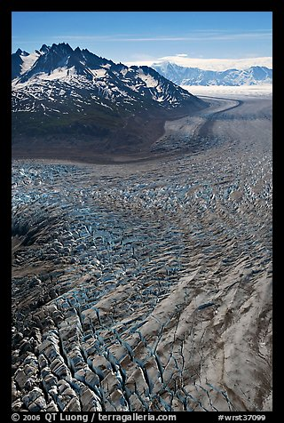 Aerial view of crevasses on Tana Glacier. Wrangell-St Elias National Park (color)
