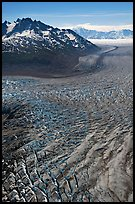 Aerial view of crevasses on Tana Glacier. Wrangell-St Elias National Park, Alaska, USA.