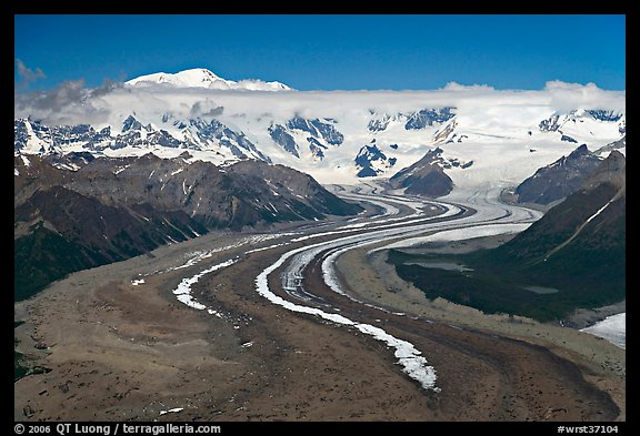 Aerial view of ice bands and moraines of Kennicott Glacier and Mt Blackburn. Wrangell-St Elias National Park (color)