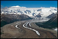 Aerial view of ice bands and moraines of Kennicott Glacier and Mt Blackburn. Wrangell-St Elias National Park, Alaska, USA. (color)