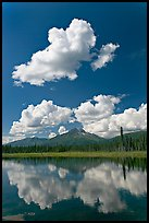 Puffy clouds reflected in lake. Wrangell-St Elias National Park, Alaska, USA. (color)