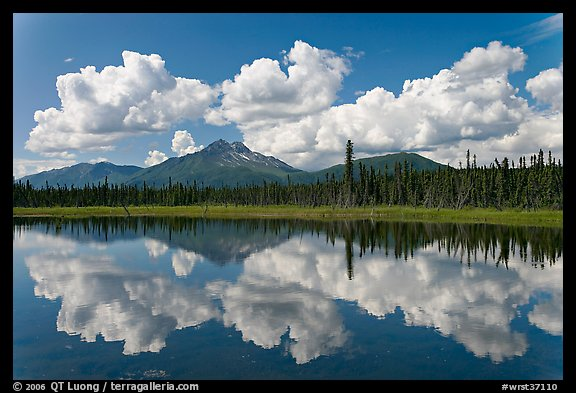 Clouds, mountains, and reflections. Wrangell-St Elias National Park (color)