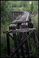 Old railroad bed on Gilahina trestle. Wrangell-St Elias National Park, Alaska, USA.