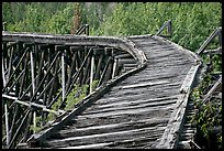Broken section of Gilahina trestle. Wrangell-St Elias National Park, Alaska, USA. (color)