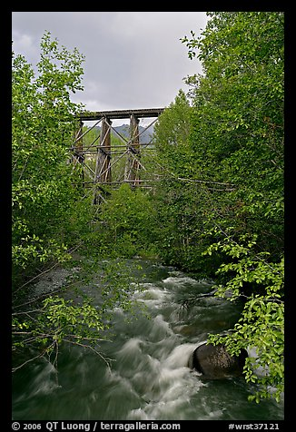 Gilahina River and trestle. Wrangell-St Elias National Park, Alaska, USA.