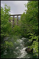 Gilahina River and trestle. Wrangell-St Elias National Park, Alaska, USA. (color)