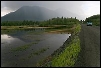 McCarthy Road and lake during afternoon storm. Wrangell-St Elias National Park ( color)