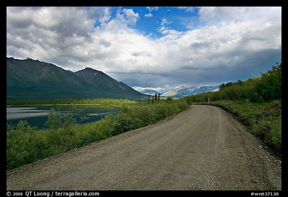 Unpaved McCarthy Road next to lake. Wrangell-St Elias National Park (color)