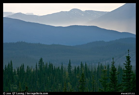 Distant mountain ridges. Wrangell-St Elias National Park, Alaska, USA.