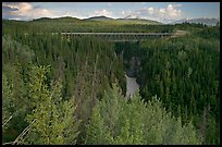 Kuskulana canyon and bridge. Wrangell-St Elias National Park, Alaska, USA.