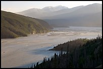 Chitina River and Chugach Mountains, late afternoon. Wrangell-St Elias National Park, Alaska, USA.