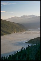 Wide Chitina River and Chugach Mountains. Wrangell-St Elias National Park, Alaska, USA. (color)
