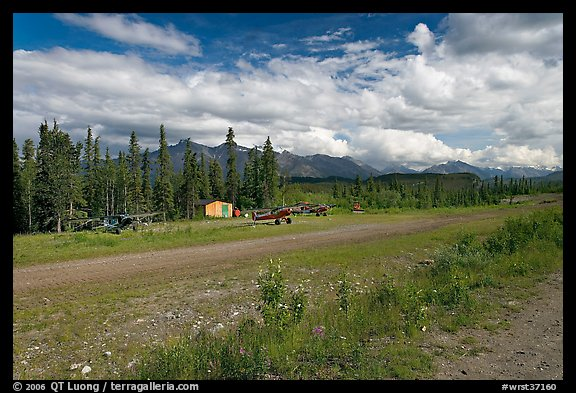 Airstrip at the end of Nabesna Road. Wrangell-St Elias National Park (color)