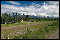 Airstrip at the end of Nabesna Road. Wrangell-St Elias National Park, Alaska, USA.