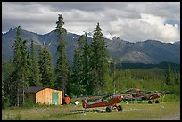 Bush planes at the end of Nabesna Road. Wrangell-St Elias National Park, Alaska, USA. (color)