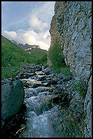 Stream and cliff, Skokum Volcano. Wrangell-St Elias National Park, Alaska, USA.