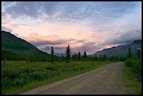 Nabena road at sunset. Wrangell-St Elias National Park, Alaska, USA.