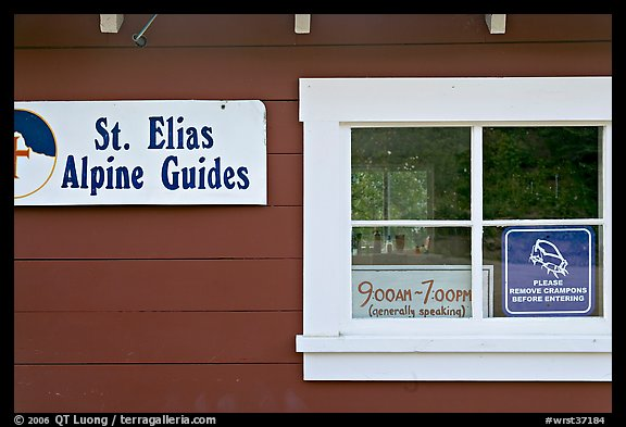 Mountain guide office with interesting signs. Wrangell-St Elias National Park (color)