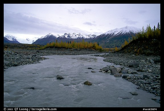 Kenicott River and Wrangell Mountains. Wrangell-St Elias National Park (color)