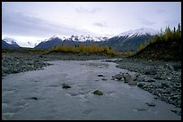 Kenicott River and Wrangell Mountains. Wrangell-St Elias National Park, Alaska, USA.