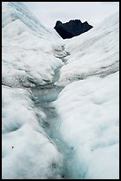 Glacial stream on Root Glacier and peak. Wrangell-St Elias National Park ( color)