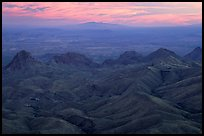 View from South Rim over bare mountains, sunset. Big Bend National Park, Texas, USA.