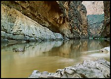 Rio Grande and cliffs in Santa Elena Canyon. Big Bend National Park, Texas, USA. (color)