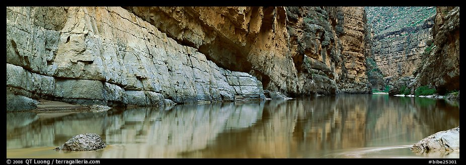 Canyon walls reflected in Rio Grande River. Big Bend National Park (color)