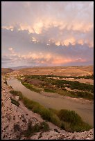Rio Grande River riverbend and clouds, sunset. Big Bend National Park ( color)