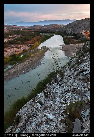 Rio Grande River and Sierra de San Vicente mountains, sunset. Big Bend National Park (color)
