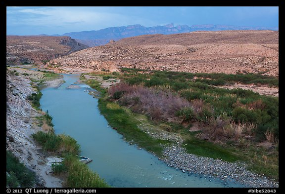 Rio Grande River and Sierra Del Carmen mountains, dusk. Big Bend National Park (color)