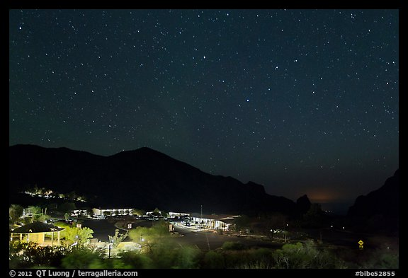 Chisos Mountains Lodge and stars at night. Big Bend National Park (color)