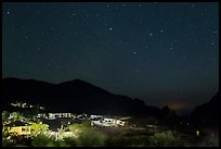 Chisos Mountains Lodge and stars at night. Big Bend National Park, Texas, USA. (color)