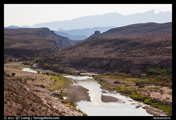 Rio Grande River canyon and Sierra del Carmen. Big Bend National Park (color)