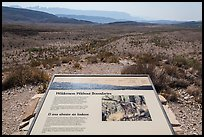 Sierra Del Carmen landscape and interpretative sign. Big Bend National Park, Texas, USA. (color)