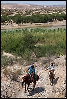 Mexican horsemen from Boquillas Village. Big Bend National Park, Texas, USA. (color)