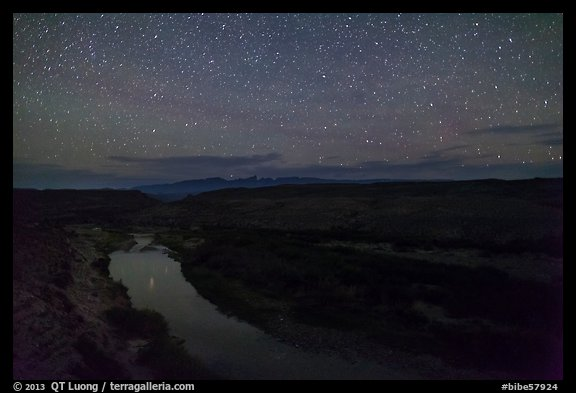 Rio Grande River at night. Big Bend National Park (color)