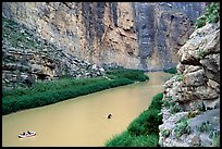 Rafters in Santa Elena Canyon of the Rio Grande. Big Bend National Park, Texas, USA. (color)