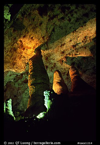 Hall of Giants with six stories tall formations. Carlsbad Caverns National Park (color)