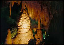 Stalagmite and stalagtites draperies. Carlsbad Caverns National Park, New Mexico, USA.