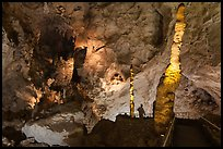 Vistor and stalacmites. Carlsbad Caverns National Park, New Mexico, USA. (color)