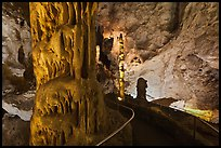Path passing next to huge stalagmite. Carlsbad Caverns National Park, New Mexico, USA. (color)
