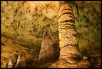 Giant Dome column in Hall of Giants. Carlsbad Caverns National Park, New Mexico, USA. (color)