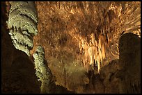 Massive stalagmites and chandelier, Big Room. Carlsbad Caverns National Park ( color)