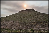 Hill with burned vegetation and sun shining through smoke. Carlsbad Caverns National Park, New Mexico, USA. (color)