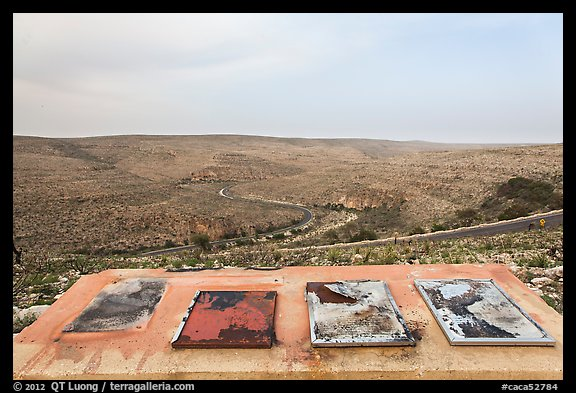 Interpretive signs, burned landscape. Carlsbad Caverns National Park (color)