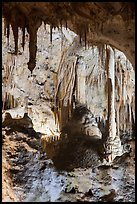 Calcite speleotherms and soda straws, Painted Grotto. Carlsbad Caverns National Park, New Mexico, USA. (color)